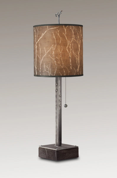 Steel Table Lamp On Wood With Medium Drum Shade In Twigs ...