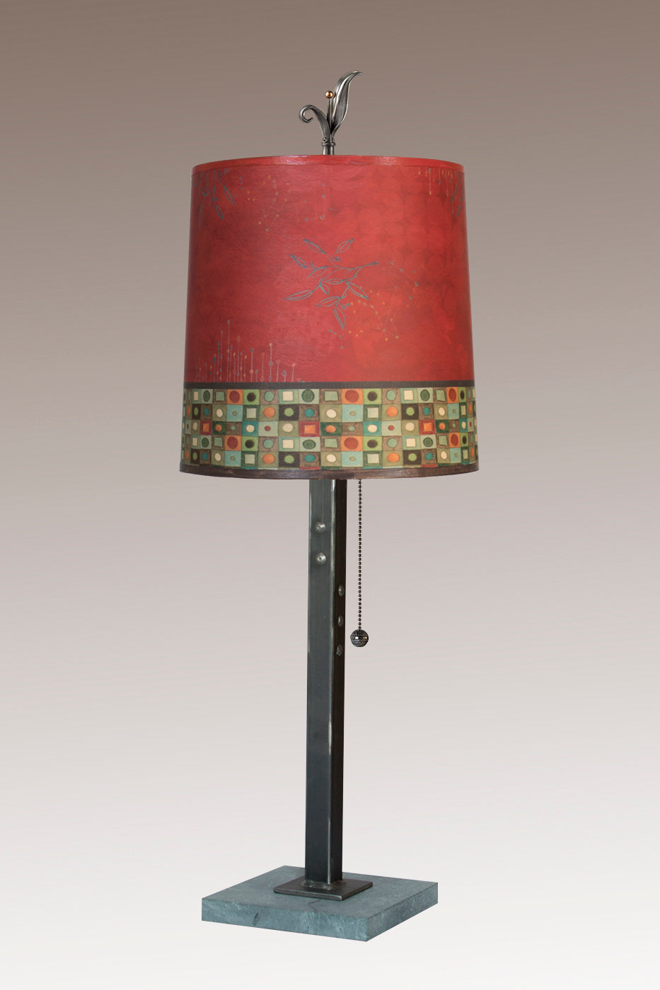 Steel Table Lamp on Marble with Medium Drum Shade in Red Mosaic