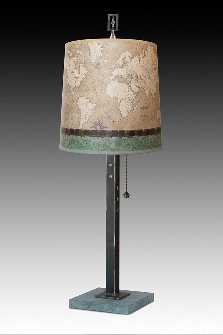Steel Table Lamp on Marble with Medium Drum Shade in Sand Map