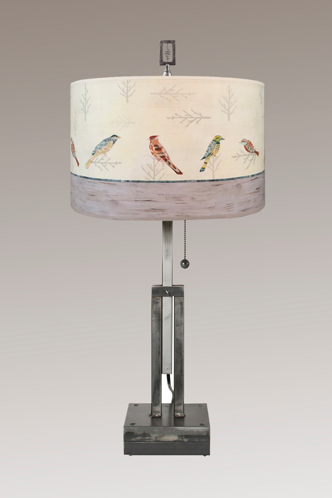 Adjustable-Height Steel Table Lamp with Large Drum Shade in Bird Friends