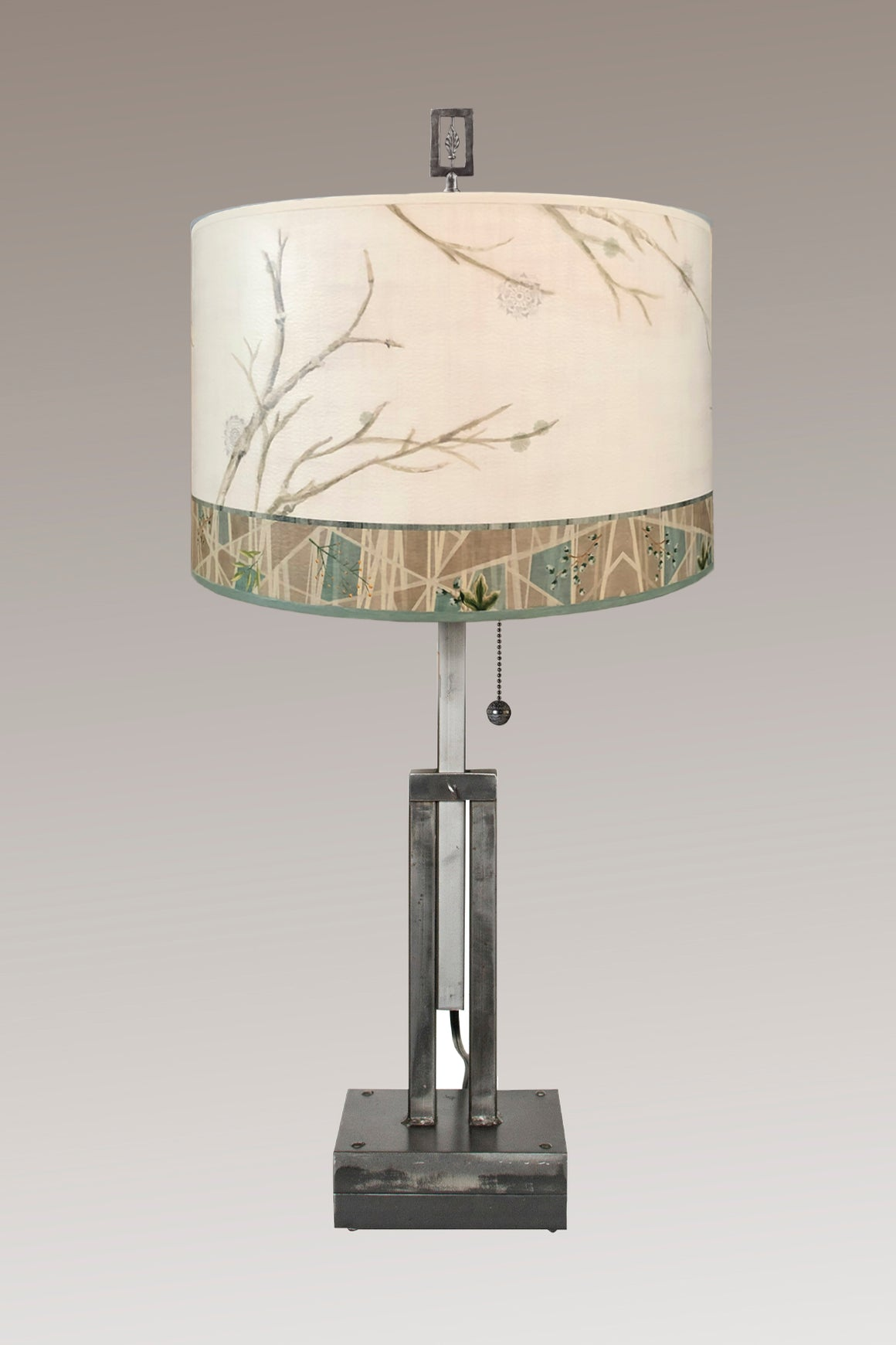 Adjustable-Height Steel Table Lamp with Large Drum Shade in Prism Branch
