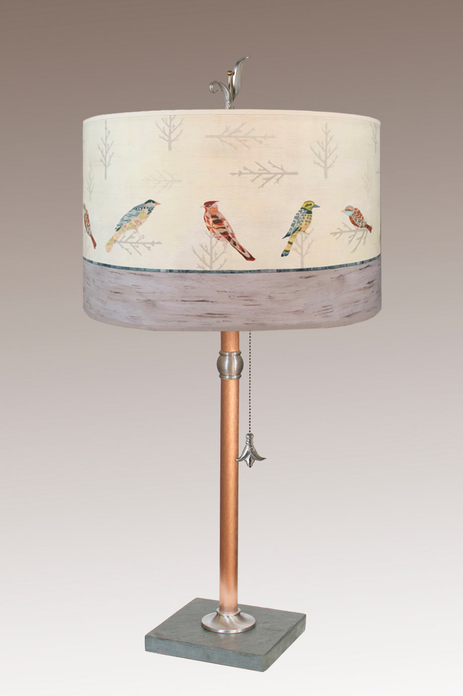 Copper Table Lamp with Large Drum Shade in Bird Friends