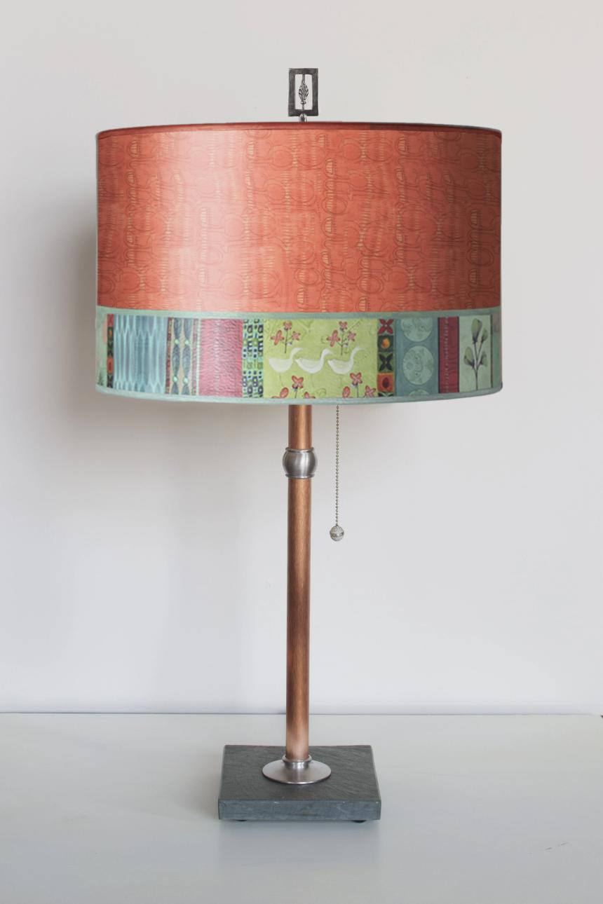Copper Table Lamp with Large Drum Shade in Melody in Coral