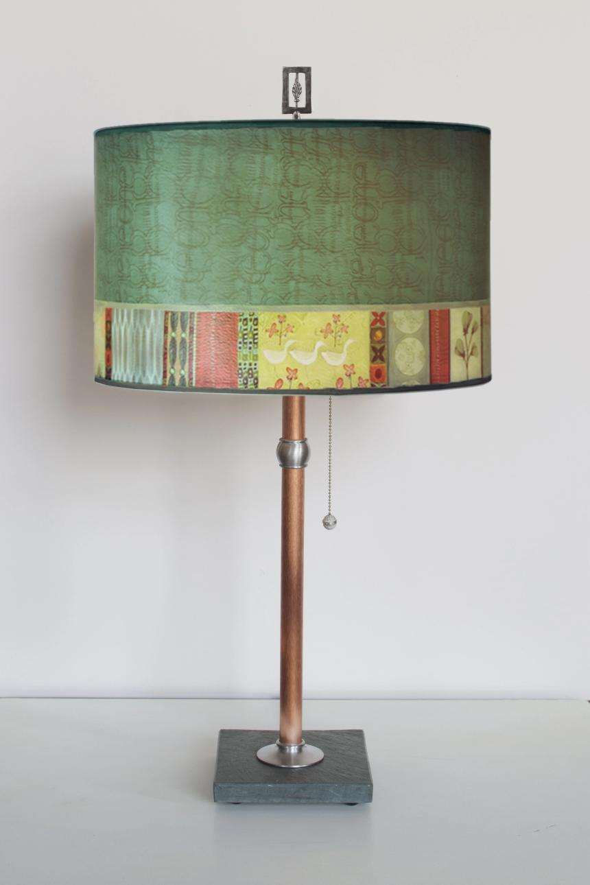 Copper Table Lamp with Large Drum Shade in Melody in Jade