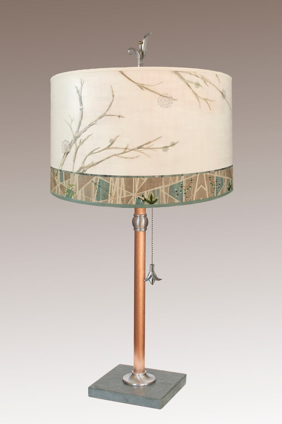 Copper Table Lamp with Large Drum Shade in Prism Branch