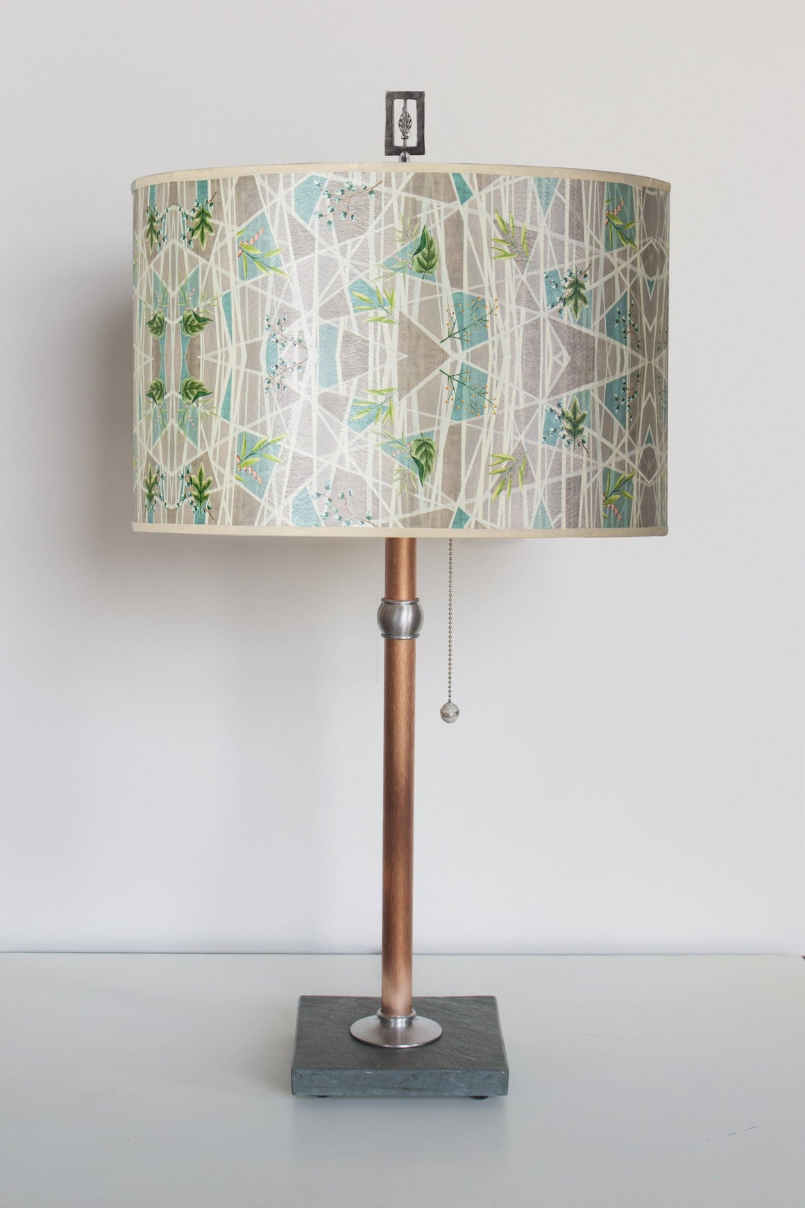 Copper Table Lamp with Large Drum Shade in Prism