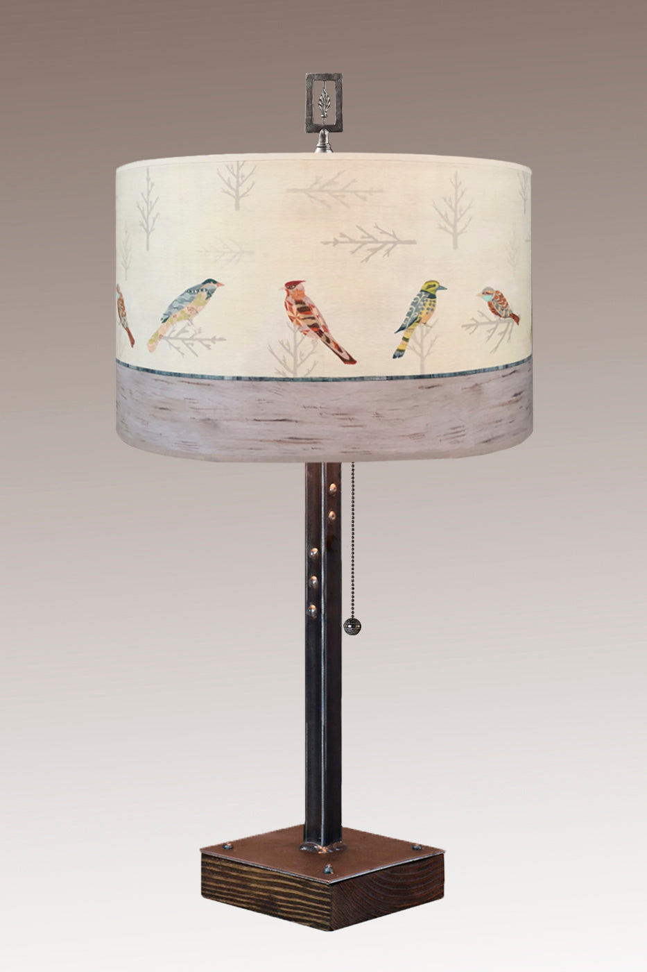 Steel Table Lamp on Wood with Large Drum Shade in Bird Friends