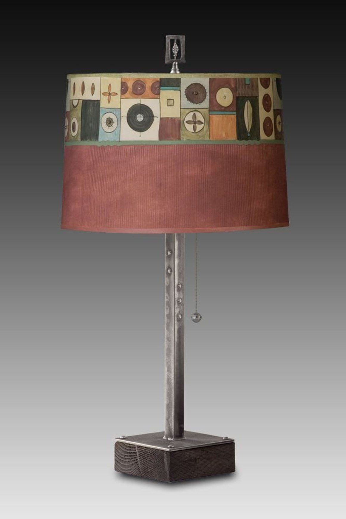 Steel Table Lamp on Wood with Large Drum Shade in Lucky Mosaic Maroon