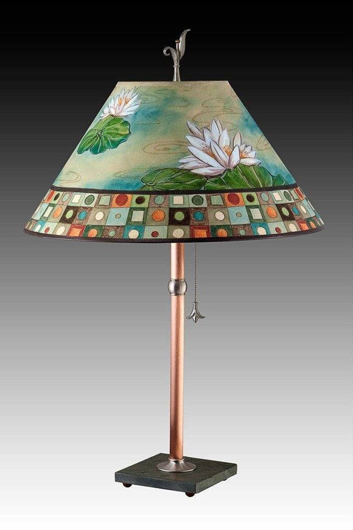 Copper Table Lamp on Vermont Slate with Large Conical Shade in Water Lily Mosaic