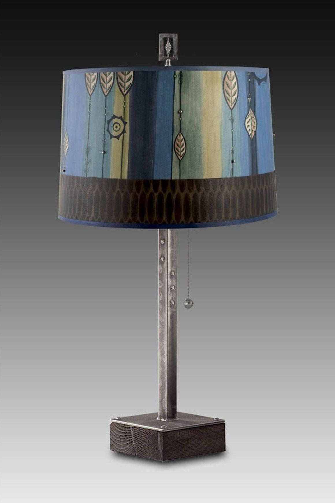 Steel Table Lamp on Wood with Large Drum Shade in Leaf Stripe Blues