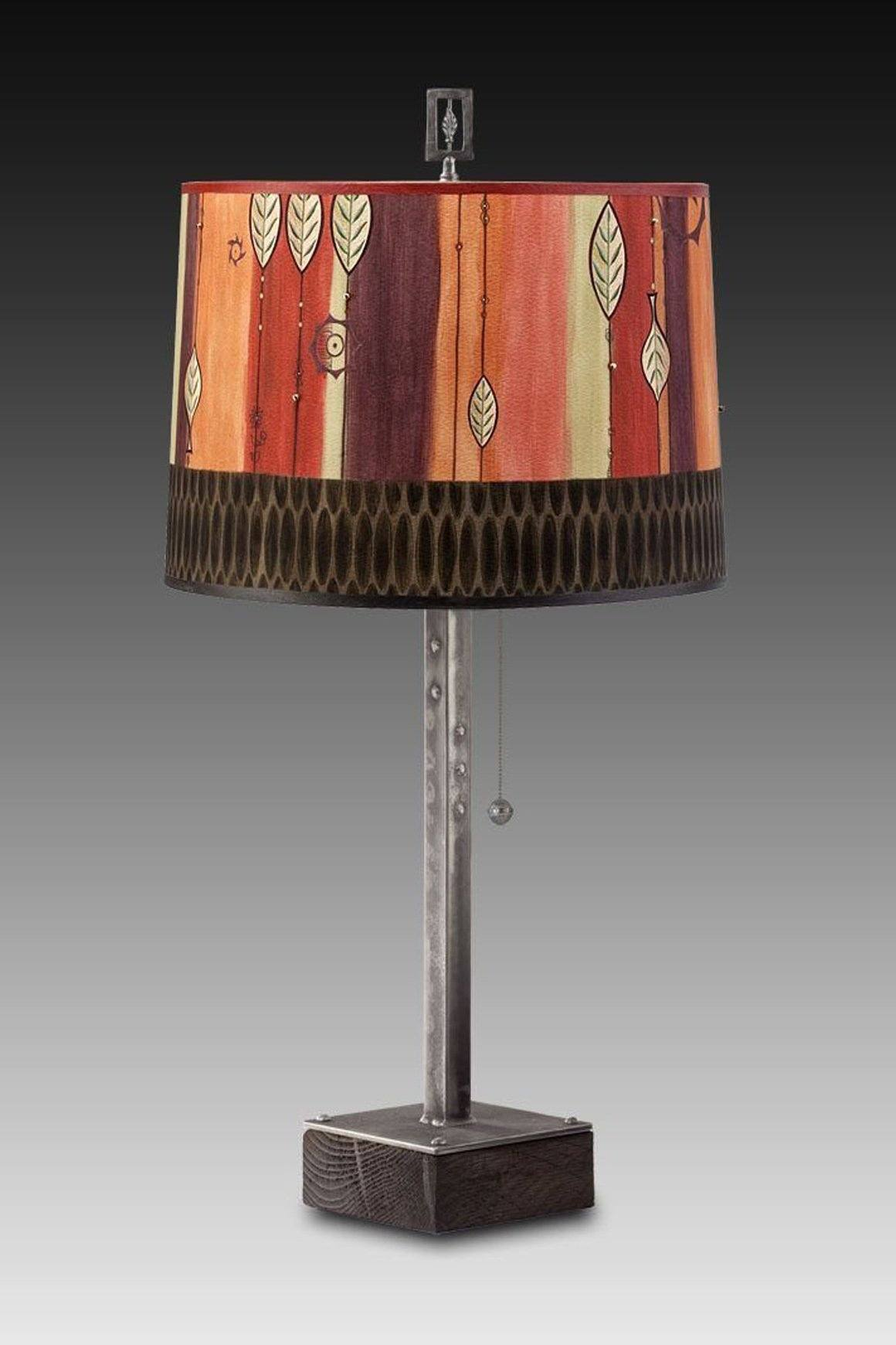 Steel Table Lamp on Wood with Large Drum Shade in Leaf Stripe Red