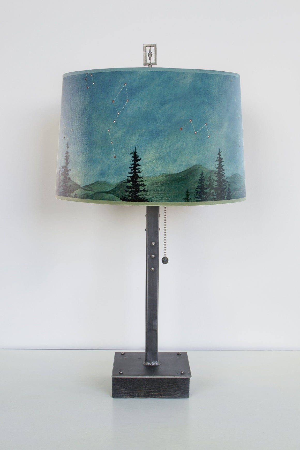 Steel Table Lamp on Wood with Large Drum Shade in Midnight