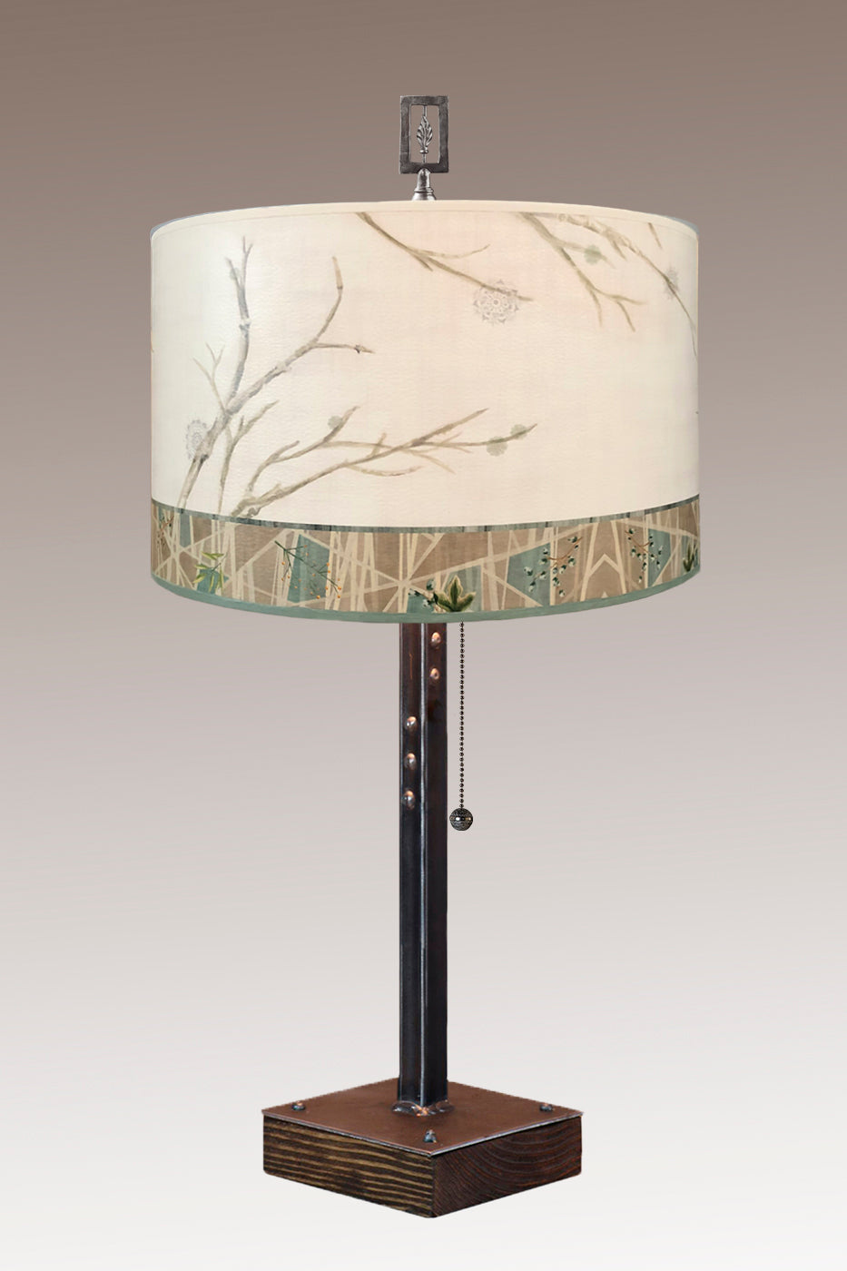 Steel Table Lamp on Wood with Large Drum Shade in Prism Branch
