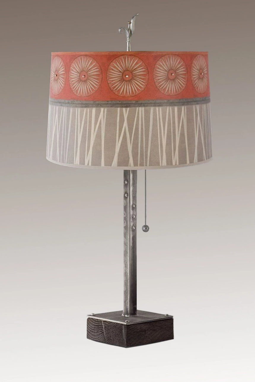 Steel Table Lamp on Wood with Large Drum Shade in Tang