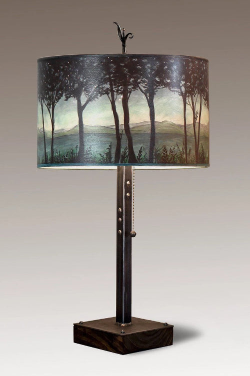 Steel Table Lamp on Wood with Large Drum Shade in Twilight