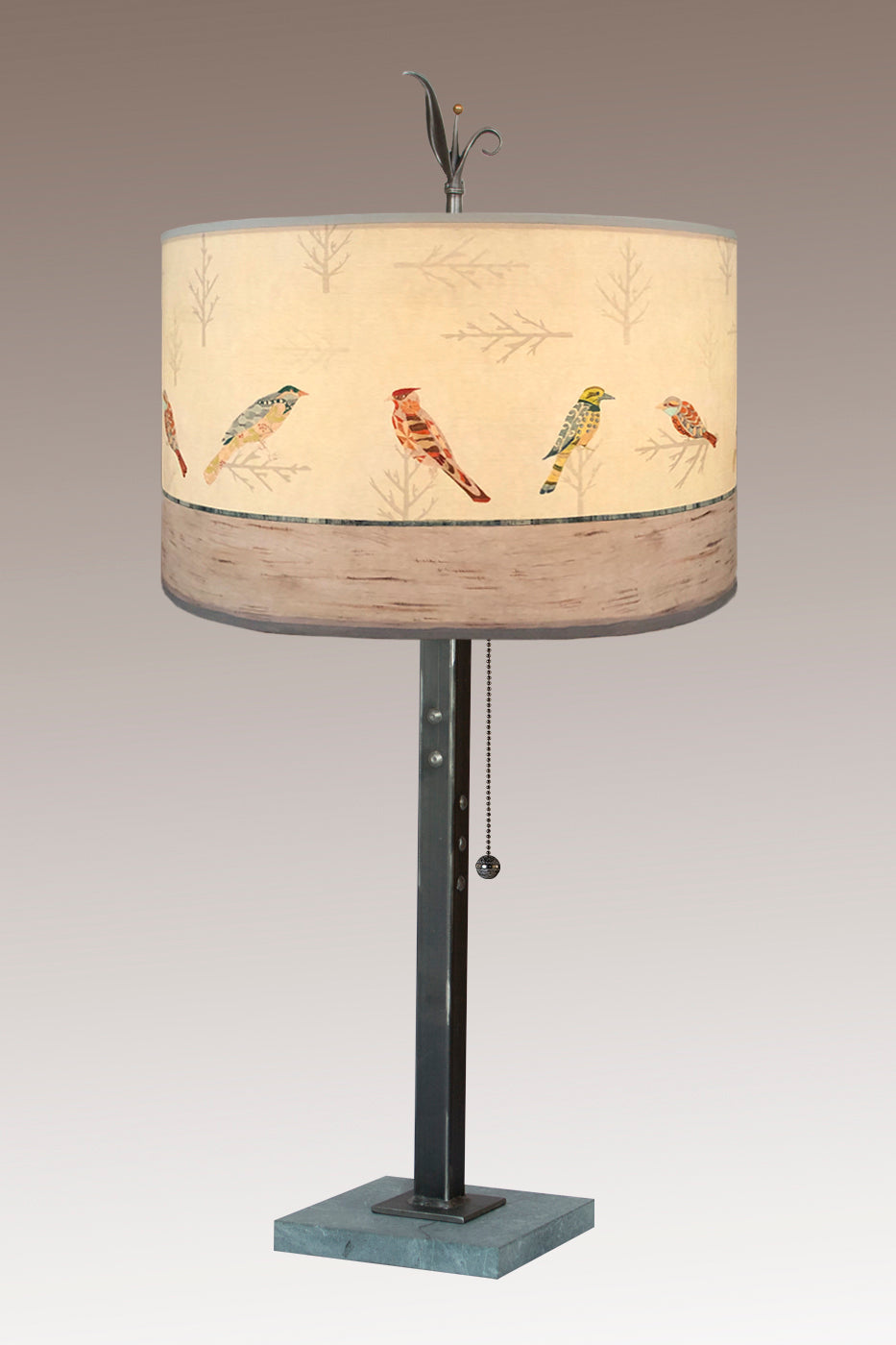 Steel Table Lamp on Marble with Large Drum Shade in Bird Friends
