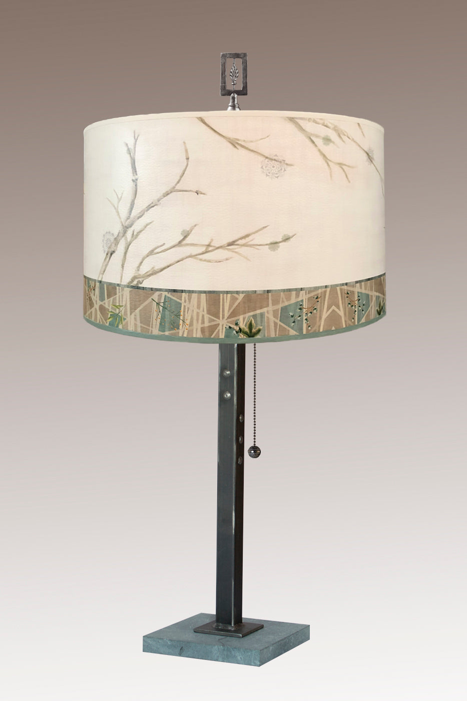 Steel Table Lamp on Marble with Large Drum Shade in Prism Branch