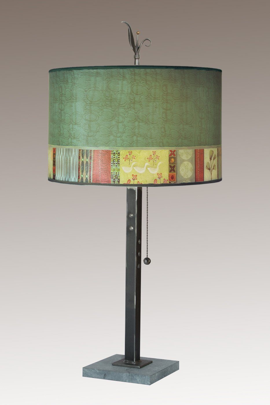 Steel Table Lamp on Marble with Large Drum Shade in Melody in Jade