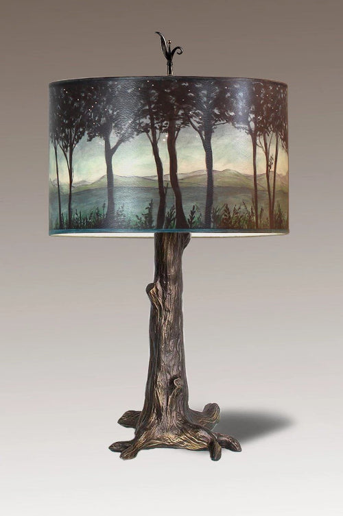 Bronze Tree Table Lamp with Large Drum Shade in Twilight