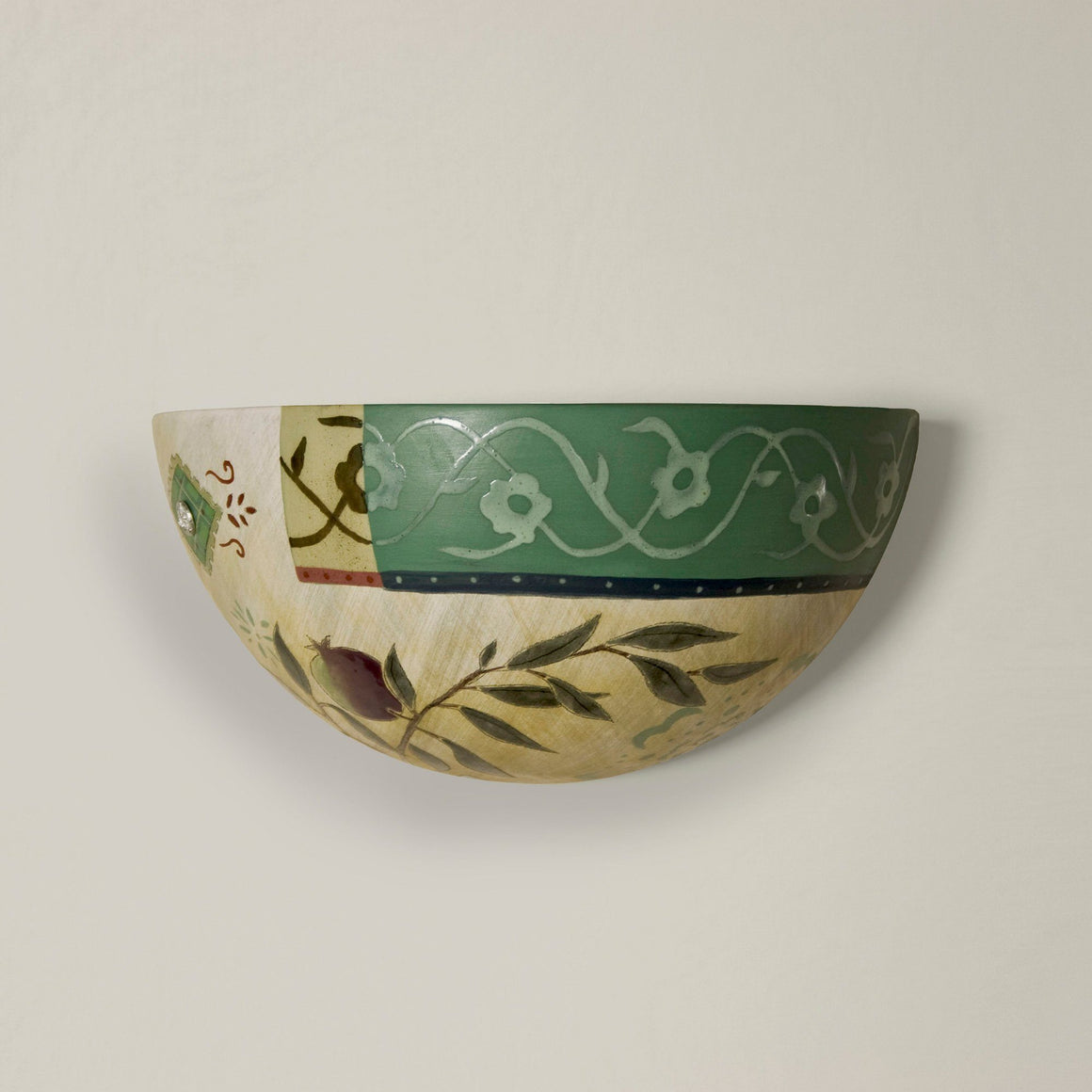 Ceramic Sconce in Pomegranate Ribbon
