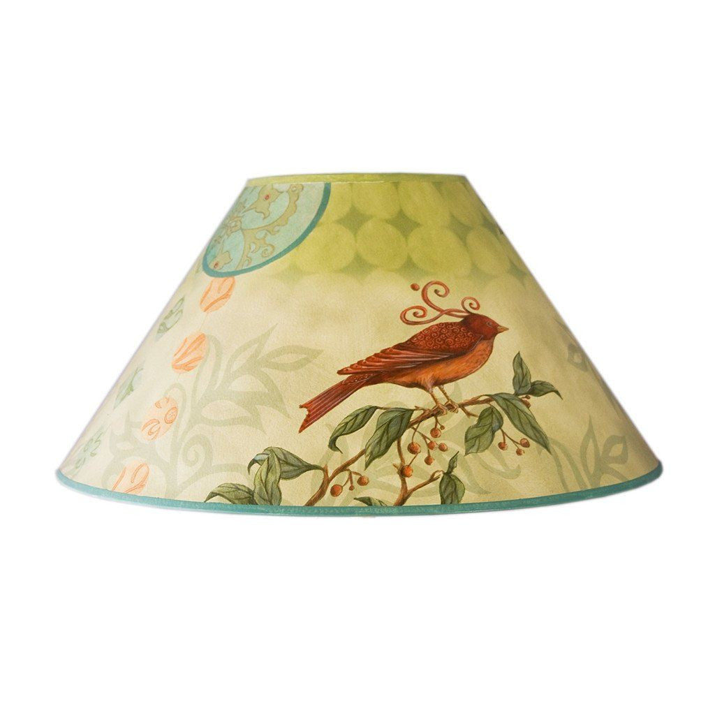 large conical lamp shade in birdscape