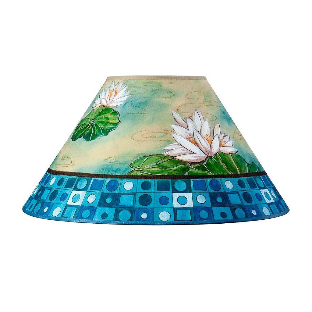 large conical lamp shade in turquoise water lily mosaic - Large Lamp Shades