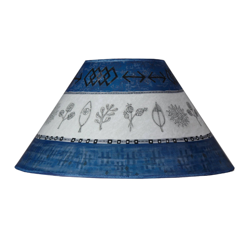 Large Conical Lamp Shade in Woven & Sprig in Sapphire