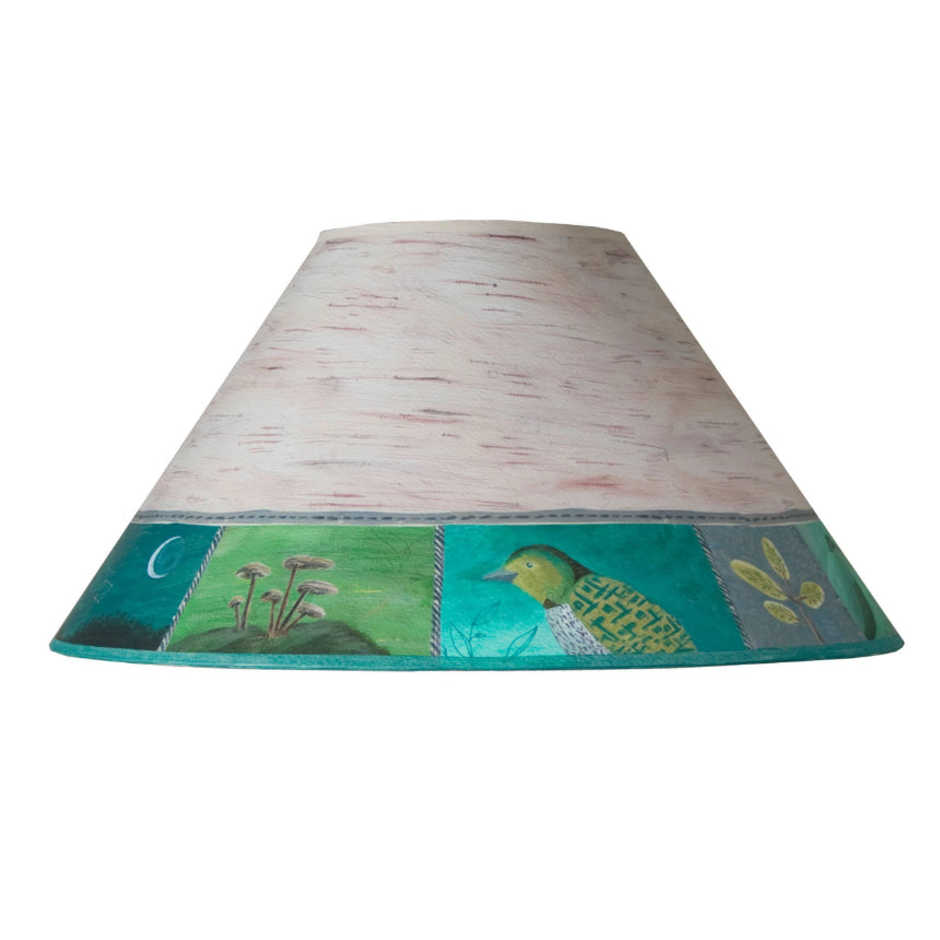 Large Conical Lamp Shade in Woodland Trails in Birch