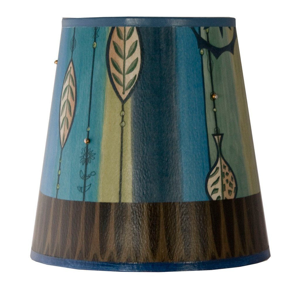 Leaf Stripe Blue Accent Drum Lamp Shade