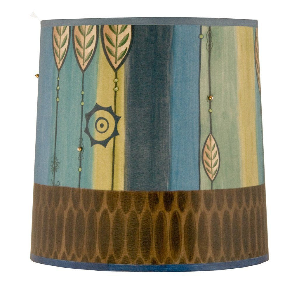 Leaf Stripe Blue Medium Drum Lamp Shade