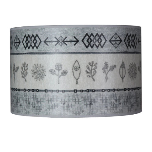Large Drum Lamp Shade in Woven & Sprig in Mist