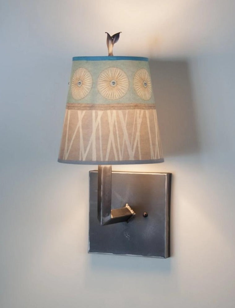 Small Drum Shaded Steel Wall Sconce in Pool