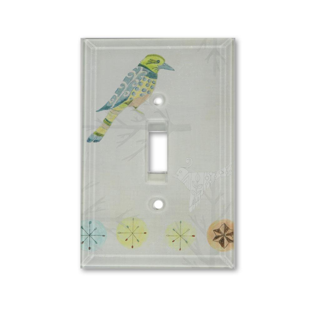 Glass Switchplate in Bird Friends