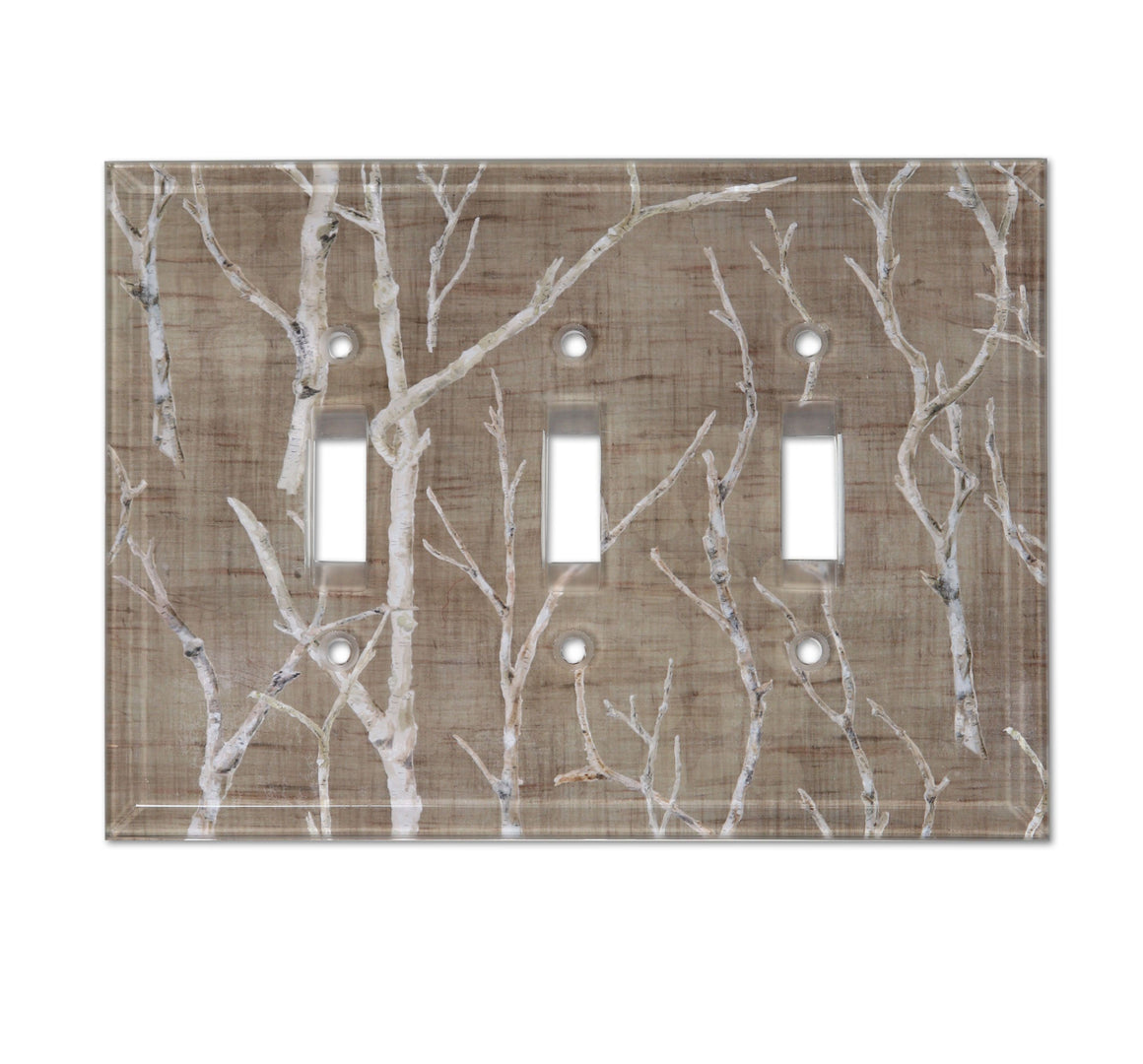 Triple Glass Switchplate in Twigs