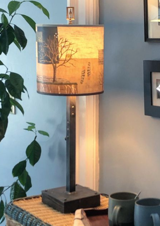 Steel Table Lamp on Wood with Medium Drum Shade in Wander in Drift