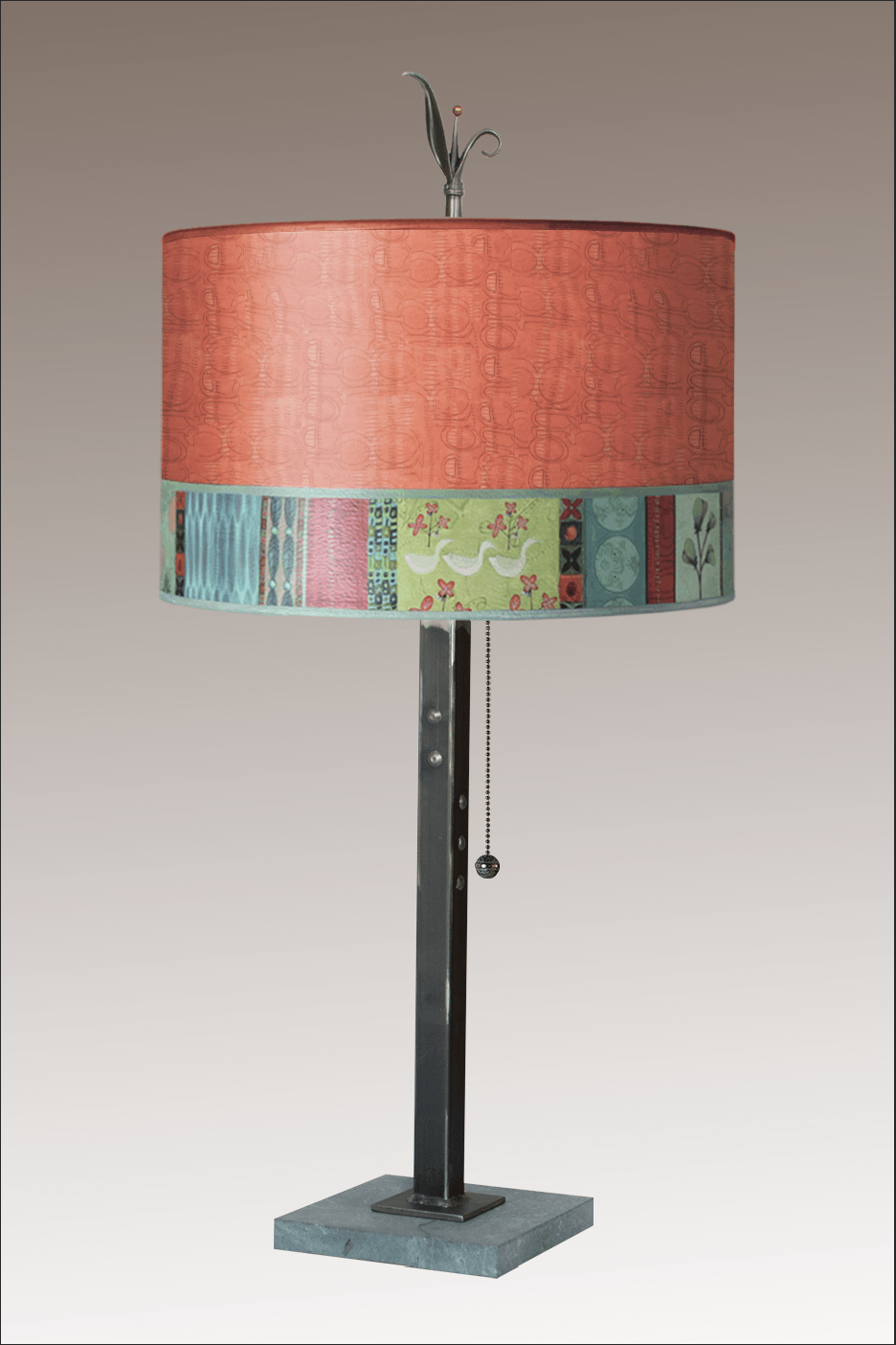 Steel Table Lamp on Marble with Large Drum Shade in Melody in Coral