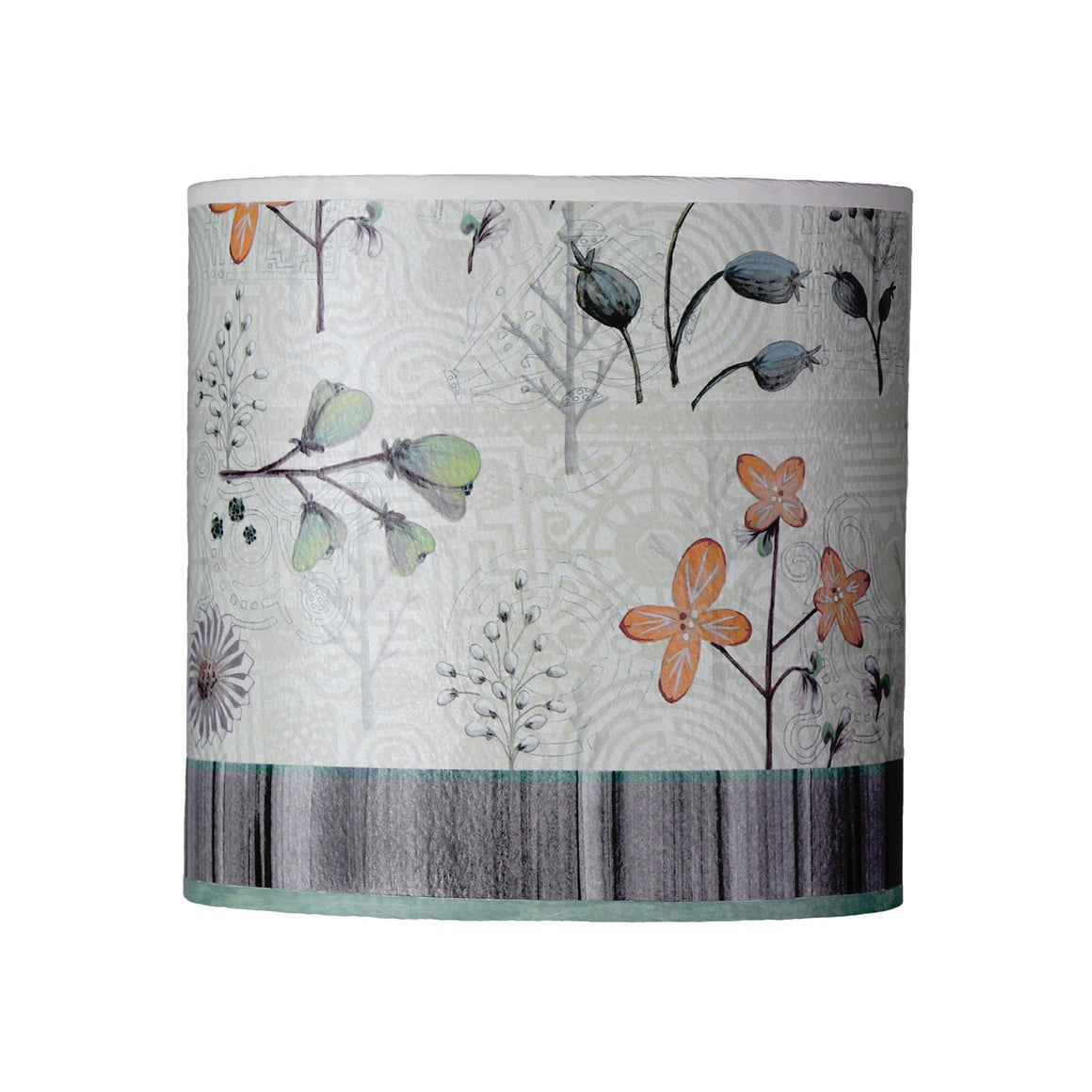 Oval Drum Lamp Shade in Flora and Maze