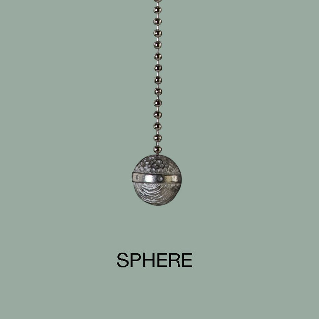 Satin Pewter or Steel Oxide Finish Small Textured Sphere Pull Chain
