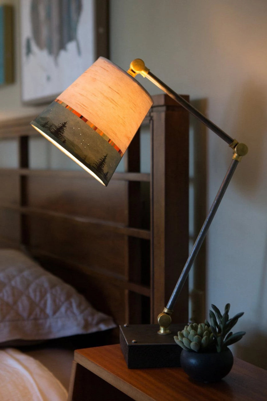Task Table Lamp with Birch Midnight Shade on Wood