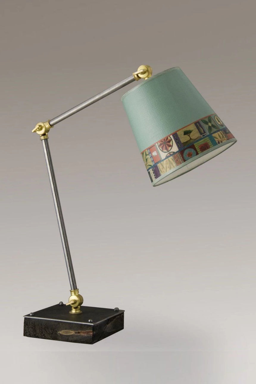 Task Table Lamp with Tesserae Shade on Wood