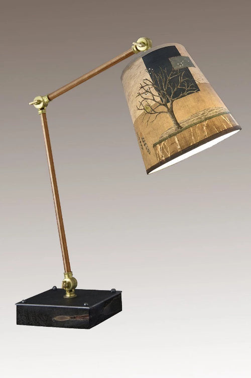 Task Table Lamp with Wander in Drift Shade on Copper and Wood