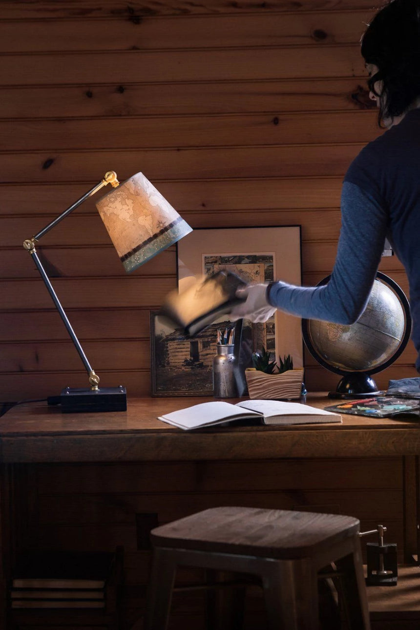 Task Table Lamp with Voyages Sand Shade on Wood