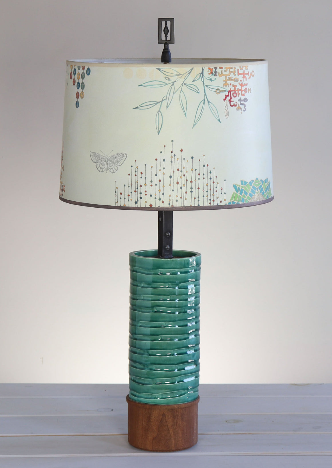 Ceramic and Wood Table Lamp with Large Drum Shade in Ecru Journey