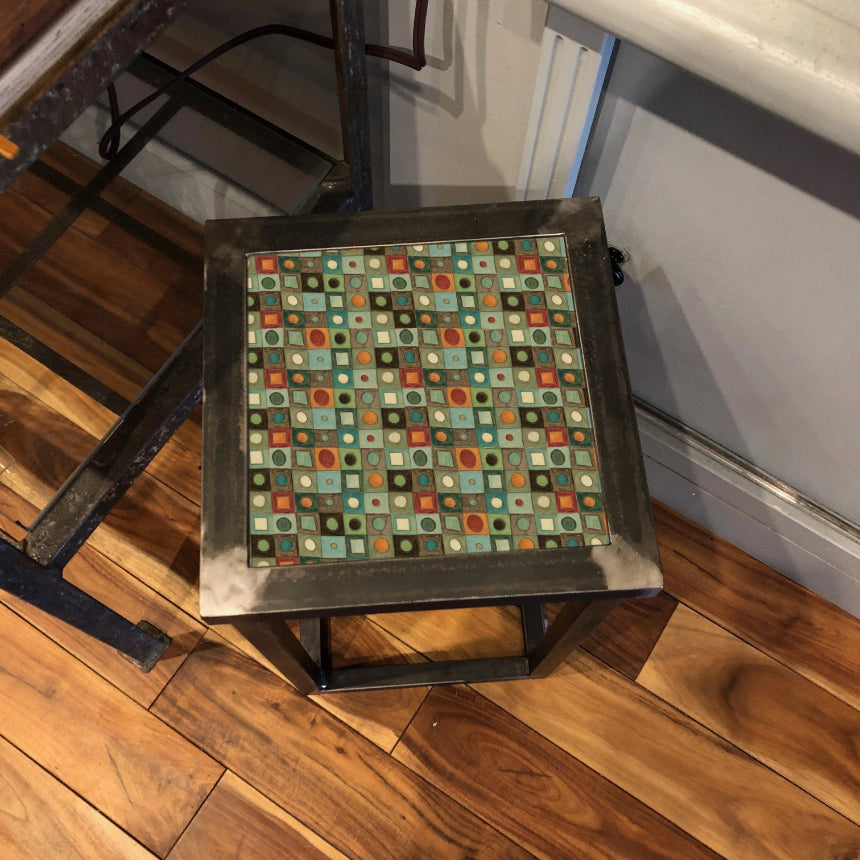 Square Steel Accent Table in Red Mosaic