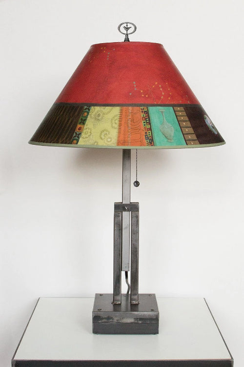 Adjustable-Height Steel Table Lamp with Large Conical Shade in Red Match