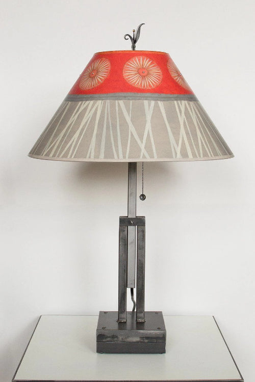 Adjustable-Height Steel Table Lamp with Large Conical Shade in Tang