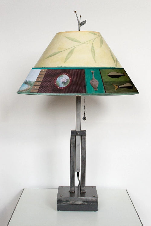 Adjustable-Height Steel Table Lamp with Large Conical Shade in Twin Fish