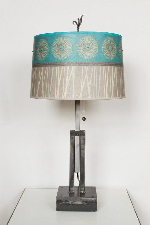 Adjustable-Height Steel Table Lamp with Large Drum Shade in Pool