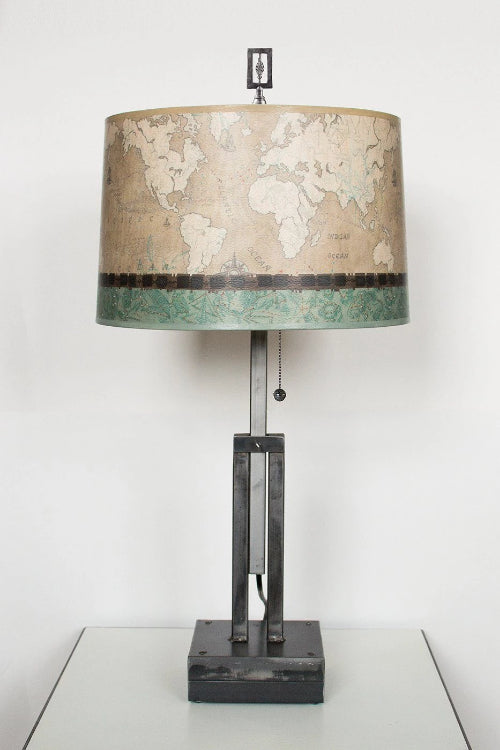 Adjustable-Height Steel Table Lamp with Large Drum Shade in Sand Map