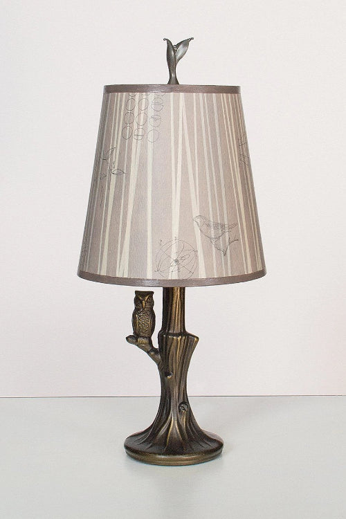 Bronze Owl Lamp with Small Drum Shade in Birch Lit